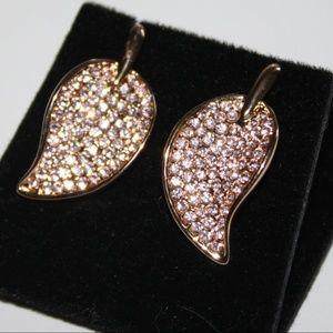 Jewelry - Beautiful goldtone crystal leaf earrings